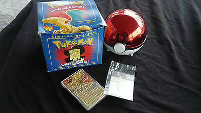 Pokemon Charizard LImited Edition 23K Gold-Plated Trading Card + Ball