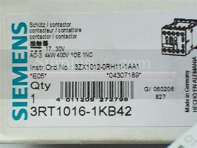 Siemens Contactor 3RT1016-1KB42 DC17...30V