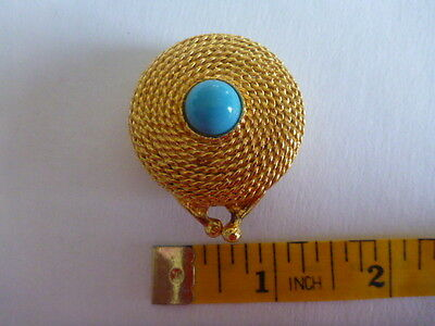 Estee Lauder vintage solid perfume gold tone case with turquoise cabochon