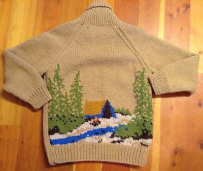 1950's Vintage Mary Maxim Cowichan Outdoor Cabin Scene Sweater Sz M
