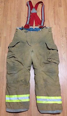 Janesville Lion Apparel Firefighter Pants Turnout Gear w/ Suspenders Size 40R