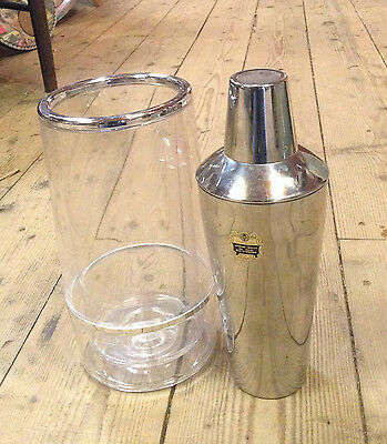 Vintage Retro Stainless Steel Cocktail Shaker K H Hong Kong with Ice Bucket