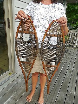 ORIGINAL 1880's NATIVE AMERICAN INDIAN SMALL CHILDS SNOWSHOES WITH RED POMPOMS