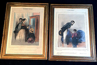 "Pair Antique Hand Colored French Lithographs ""les Enfans Terribles"" 19Th Century"