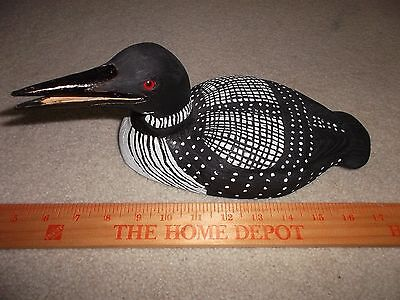 "Wood Carved Loon Glass Eyes  - signed J Holland  4 1/2 w x 11 "" l Free Shipping"
