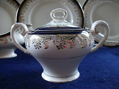 MYOTT- ROYALTY (1930's)- COVERED SUGAR BOWL-COBALT BLUE- GILT! EXCELLENT!
