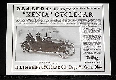 """1914 Old Magazine Print Ad, Hawkins """"xenia"""" Cyclecar, Real, Not A Projected Car!"""