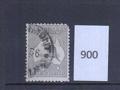 1 Pound Grey Kangaroo Cof A Watermark fine used with a corner perf missing