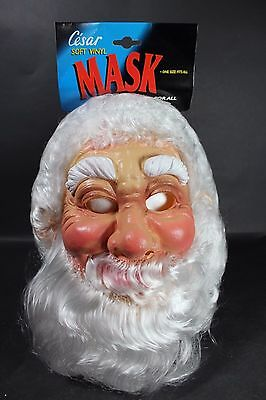 Vintage Cesar Soft Vinyl Santa Claus Christmas Mask France Halloween Costume NOS