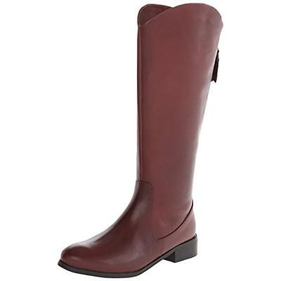 Trotters 9032 Womens Logan Red Leather Riding Boots Shoes 7.5 Medium (B,M) BHFO