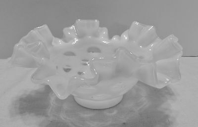 Fenton White Opalescent Coin Dot Bowl Ruffled