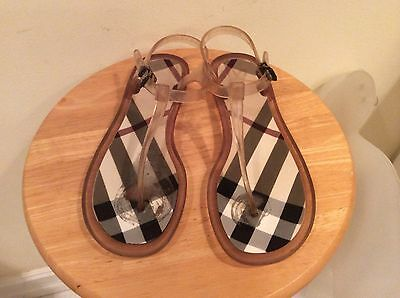 Burberry Jelly T-Strap Thong Sandals EU 39 Made in ITALY Clear Nova Check
