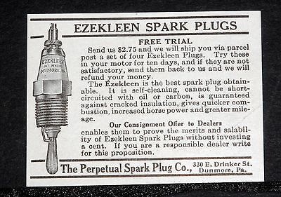 "1914 Old Magazine Print Ad, Perpetual ""ezekleen"" Spark Plug, Is Self Cleaning!"