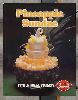 Vintage Dairy Queen Promotional Poster Pineapple Sundae 1980 dq2