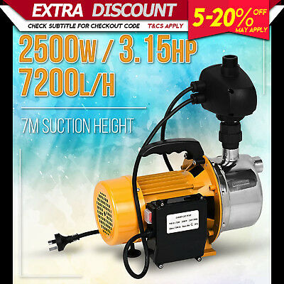 New 2500W Rain Water Tank Pump Auto Switch Pressure Garden Irrigation Pool Pond