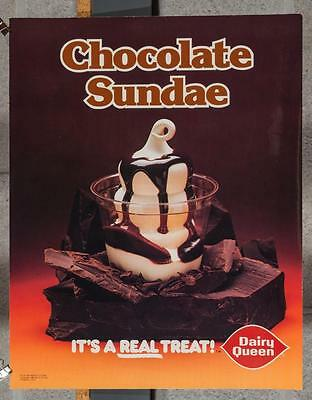 Vintage Dairy Queen Promotional Poster Chocolate Sundae 1980 dq2