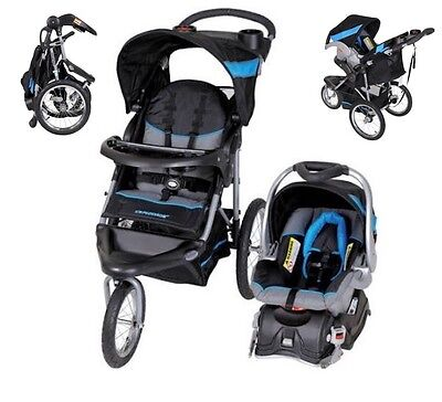 Black Blue Jogging Stroller Carseat Combo Baby Trend Run Travel Walking Carriage