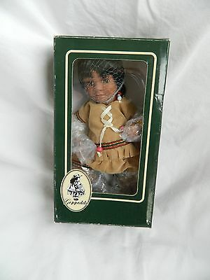 Geppeddo  Porcelain Native American Indian Doll  7 inches