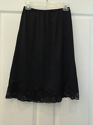 Vintage Vanity Fair Half Slip Black Large Made In USA Tricot