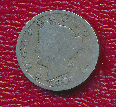 "1897 Liberty Head ""v"" Nickel **all Obverse Stars Visible** Popular Year!"