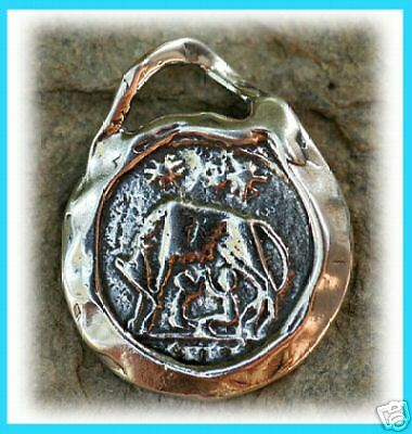Romulus and Remus Artisan Ancient Roman Coin Replica Pendant