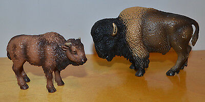 Schleich Bison Adult & Calf Animal Toy Figure Model Lot 2004