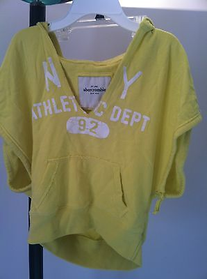 Abercrombie Fitch Girl's NY Athletic Dept Yellow Hoodie Sweatshirt Size S Small