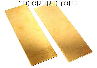 """Yellow Brass Sheet 22ga 6"""" x 2"""" .64mm Thick Package Of 2"""