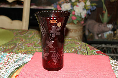 Egermann Ruby Red Cut To Clear Glass Vase-#3-Czech Republic-Flowers & Grapes