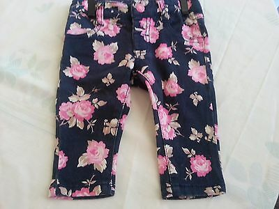 Target Baby Girl's Pants - Size 00 - 3-6 mths - Dark Blue and Pink Flowers EUC
