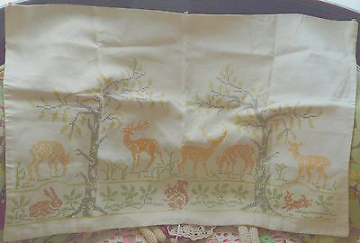 Vintage Cross Stitch Wall Hanging On Bleached Flour / Feed Sack? Deer & Rabbits