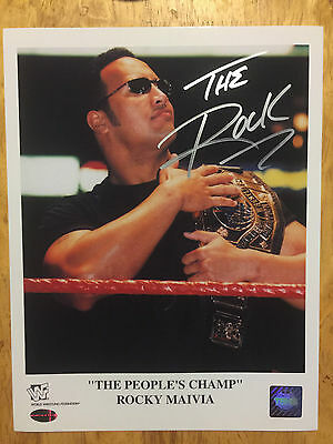 THE ROCK Rocky Maiva 'The People's Champ' Signed 9x11 WWF WWE Wrestling photo