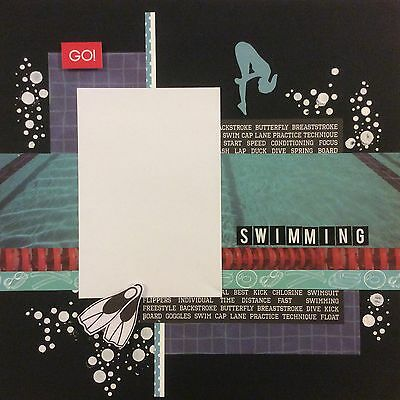 handmade scrapbook page 12 X 12 Swimming Themed Layout