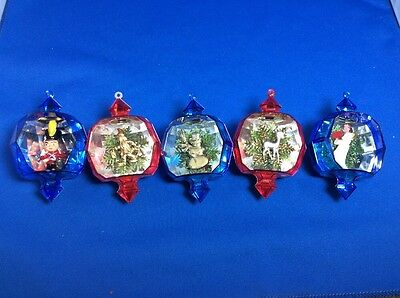 Lot Of 5 Vintage JewelBrite Diorama Red & Blue Christmas Ornaments #3