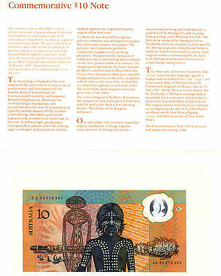 Australia 1988 $10 Polymer Note AA + Overprint in Folder of Issue UNC