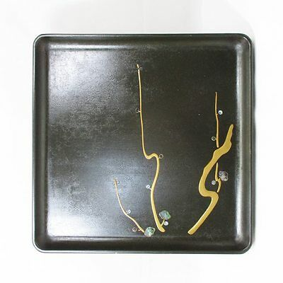 K732: Japanese lacquerware dinner tray with MAKIE and mother-of-pearl work
