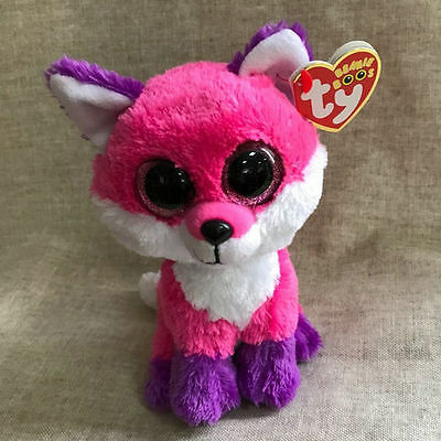 ty beanies boos Pink purple Fox Joey Slush stuffed animal toy 6""