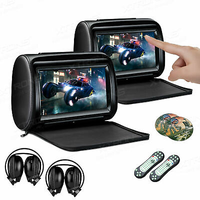 "9"" Black HD Car Headrest Digital Monitor DVD Player Pillow USB FM +IR Headphones"