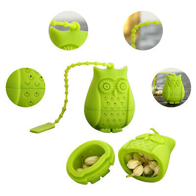 Reusable Silicone Owl Loose Tea Bag Holder Infuser Filter Perforated Strainer