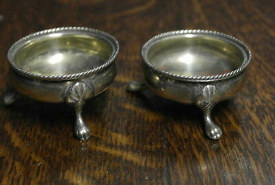 antique silver plate  pair of TABLE SALTS