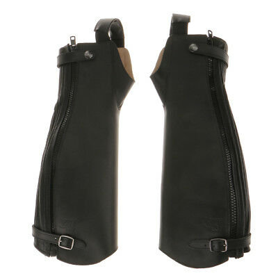 1Pair Leather Gaiters Horse Riding Chaps Zipper Boot Gaiters Black