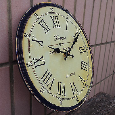 Rustic Vintage Antique Clock Wall Style Wooden Round Clocks Large Art Home Decor