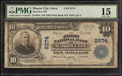 1902 $10 Note Dillinger Gang Robbed This Mason City First National Bank Pmg 15