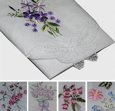 12 Pieces / 6 Pieces Embroidered & Lace 28cm x 28cm 100% Cotton Handkerchiefs