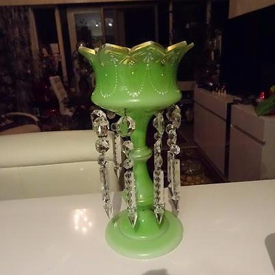 19th Century Victorian Gilded Green Opaline Glass & Crystal Lustres - 33cm High