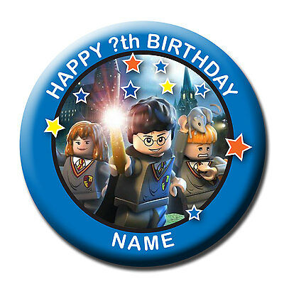 PERSONALISED HARRY POTTER BIRTHDAY BADGES/FRIDGE MAGNET/NO PIN 58MM or 77MM