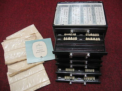 Vintage Moulds Trubyte Bioblend Teeth Tooth Dental Dentists Drawers Case Oddity