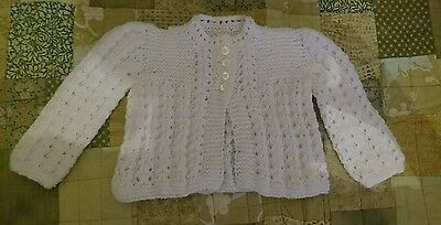 White Hand Knitted Girls Cardigan 6-9 Months
