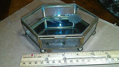 A Vintage Brass And Glass Trinket With A Mirror On The Inside Bottom!