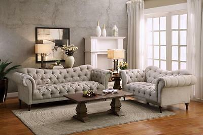 8469-3 Traditional Brown Button Tufted Almond Fabric Sofa Loveseat Set